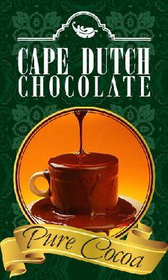 Cape Dutch Chocolate Pure Cocoa #purecocoa Cape Dutch, Banting, Cocoa, Pure Products, Tea, Chocolate, Tableware, Powder, Website