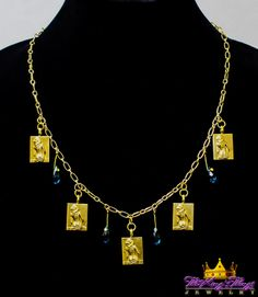 8-1. Five Hot Babes Necklace With Blue Swarovski Glass Beads Our new runway jewelry on ETSY: https://www.etsy.com/shop/TheKingsThings