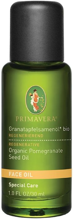 Primavera Organic Pomegranate Seed Oil is ideal for the face. Primavera Organic Pomegranate Face Oil - This unique face oil turns back time. Pomegranate Oil moisturises and nourishes skin, restores proper pH balance, fights damage-causing free radicals and leaves skin super soft and smooth. Pomegranate Oil exhibits substantially more antioxidant activity than comparable quantities of green tea, red wine and other antioxidant rich botanicals.