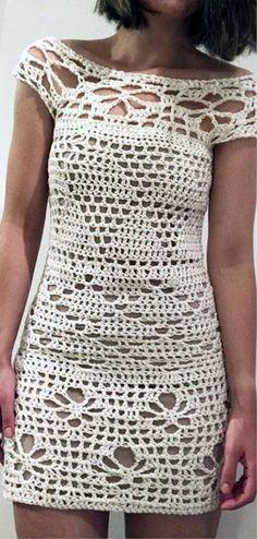 Best of Crochet Dress Dress Models, Crochet Dresses, Boho Outfits, Stitches, Knit Crochet, Short Sleeve Dresses, Knitting, Clothes, Women