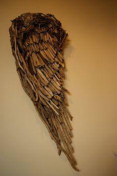 angel wing wood sculpture