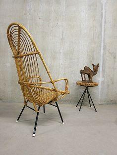 Vintage Rohe rotan lounge chair Dirk van Sliedregt  