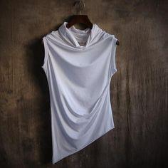 Sleeveless High Collar Designer Shirt
