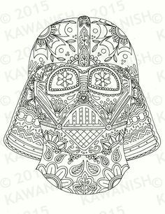 Day Of The Dead Darth Vader Mask Adult Coloring Page By Kawanish Davlin Publishing