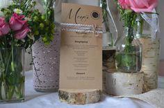 7 Menükarten Menü Hochzeit Vintage inkl. Druck von Majalino auf DaWanda.com
