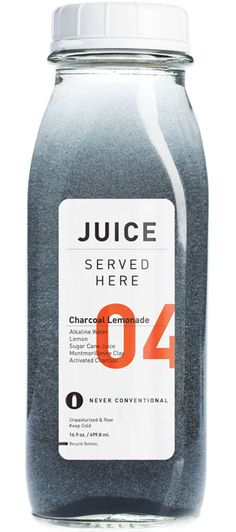 Juiced Served Here: Charcoal Lemonade, Alkaline water, raw sugar cane juice lemon, montmorillonite clay, activated charcoal. Juice Packaging, Beverage Packaging, Bottle Packaging, Brand Packaging, Design Packaging, Coffee Packaging, Juice Branding, Chocolate Packaging, Jus Detox