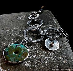 turquoise garnet necklace sterling silver on Etsy, $200.00