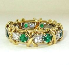 TIFFANY & Co 18K Gold Schlumberger Jean Diamond Emerald 16 Stone X Love Ring 6
