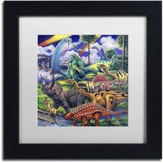 Trademark Fine Art 'Dinosaur Friends' Canvas Art by Jenny Newland, White Matte, Black Frame, Size: 11 x 11, Assorted