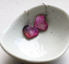 Papercrafted Heart Dangle Earrings by PaperStoryDesigns on Etsy, $13.97