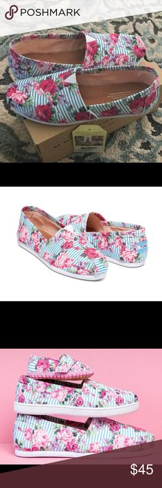 Toms Classic Floral Stripes TOMS exclusives, mommy and me style! Also selling tiny classics in sz 10 (toddler). TOMS Shoes