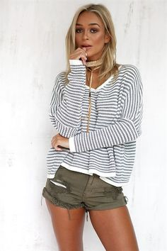 Grey Stripe Knit, just YES! Stripes and slouch.... HEAVEN!!! - #SABOSKIRT