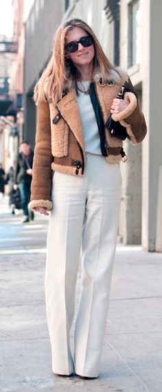 great jacket with wide leg trousers- Marina Larroude