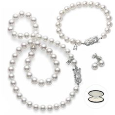 Mikimoto Akoya Pearl White Gold 18″ 7-8mm Strand Necklace, 8mm... ($5,300) ❤ liked on Polyvore featuring jewelry, necklaces, jewelry sets, accessories, bracelets, white gold pearl necklace, pearl necklace, pearl jewellery, white gold necklace und set jewelry
