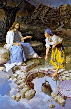 Stanislav Plutenko :Jesus and Samaritan Jesus Christ Images, Jesus Art, Church Pictures, Jesus Pictures, Surreal Artwork, Institute Of Contemporary Art, Christian Artwork, Jesus Painting, Moise