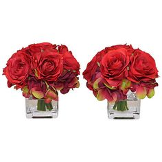 """5"""" Red Rose Arrangements - Faux Set of 2 Arrangements ($79) ❤ liked on Polyvore featuring home, home decor, floral decor, flowers, decorative accessories, red home accessories, flower stems, rose home decor and handmade home decor"""