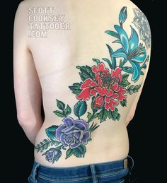 traditional Japanese peony, rose and lily back piece tattoo by scott cooksey of lone star tattoo in dallas, texas and godspeed tattoo in breckenridge, colorado. @scottcookseytattooer