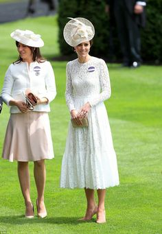 Kate ups the style stakes! The Duchess of Cambridge joins the glamorous ladies of Royal Ascot for the first time - stealing the spotlight in a white lace D&G dress