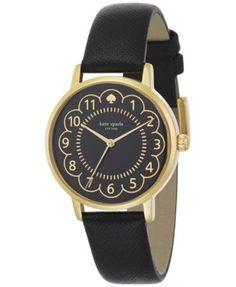 kate spade new york Women's Metro Black Leather Strap Watch 34mm 1YRU0790 | macys.com