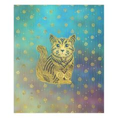 Bohemian Cat Golden Decor on Paint Background Fleece Blanket - home gifts ideas decor special unique custom individual customized individualized