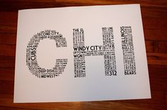 CHI (24 x 18 Hand-screened Chicago Word Cloud Poster Print in Black and White). $25.00, via Etsy.