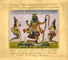 Kṛṣṇa subduing serpent Kaliya with two consorts. Gouache and engraved on paper. Bookplate. Inscribed. Date 1830 (circa), India (South?)