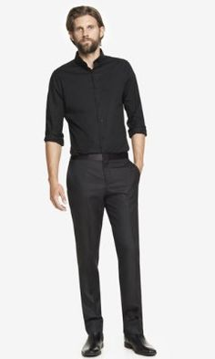 WOOL BLEND TEXTURED TUXEDO PANT from EXPRESS