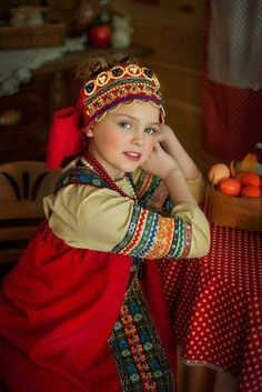 Russian girl in traditional costume #kids