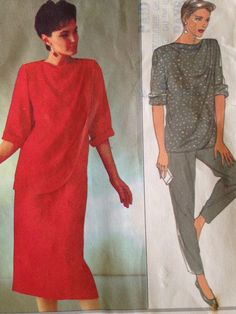 Style #1980s Top Skirt Trousers #Pattern4471 Size 10 12 14 Uncut Draped Front Vtg