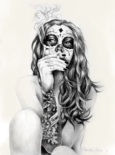 Ever since reading Neil Gaiman I've started envisioning death as a gothic, young girl. But mostly it's just a sugarskull girl. Mixed media (graphite, charcoal, ink), sized a4. Smoking kills.