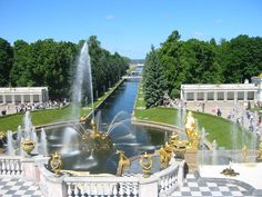 Fountains at the Peterhof Palace looking towards the Gulf of Finland
