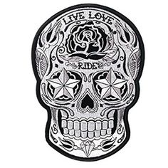 Medium Silver Sugar Skull Womens Motorcycle Vest Patch comes on solid black background with embroidered silver sugar skull design with live love ride imprinting for women bikers and motorcycle riders.