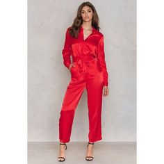 NA-KD Trend Tied Waist Satin Pants ($59) ❤ liked on Polyvore featuring pants, red, red trousers, zipper pants, zip pants, tie waist trousers and satin pants