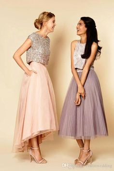 Alternative bridesmaid style ideas that go beyond the dress - Wedding Party. Crop top and skirt provide endless possibilities ro dress up! Wedding Bridesmaid Dresses, Wedding Party Dresses, Bridesmaid Outfit, Alternative Bridesmaid Dresses, Bohemian Bridesmaid, Wedding Skirt, Wedding Outfit Guest, 2 Piece Bridesmaid Dress, Bridesmaid Skirt And Top