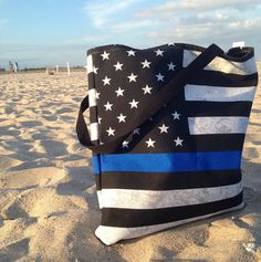 Thin Blue Line Tote Bag or Beach Bag 2 Sizes American Flag image 0 Cop Wife, Police Wife Life, Police Family, Law Enforcement Wife, Police Lives Matter, Hard Wear, Thin Blue Lines, Police Officer, Leo Police