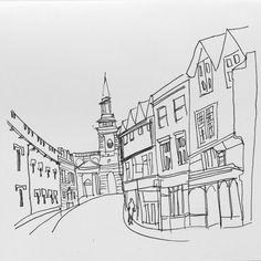"51 Likes, 7 Comments - The Oxford Sketcher (@oxfordsketcher) on Instagram: ""Line drawing of Turl Street, home to 3 of the university's colleges, @exetercollegeox…"""