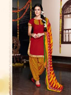 Maroon Yellow Glaze Cotton Elegant Patiala Salwar Kameez  Designer salwar collection for Eid 2015  www.parisworld.in #Eid #salwar #parisworld