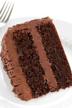 Chocolate Cake with Chocolate Buttercream Frosting. I have a thing for chocolate cake with chocolate buttercream frosting! Amazing Chocolate Cake Recipe, Best Chocolate Cake, Chocolate Recipes, Chocolate Hearts, Chocolate Chocolate, Craving Chocolate, Homemade Chocolate, Frosting Recipes, Cake Recipes