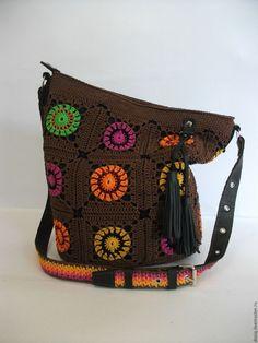 Купить вязаная сумка-торба, бабушкин квадрат, осень. - коричневый, абстрактный…