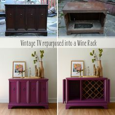 Before and After Vintage TV repurposed into a wine rack by Estuary Designs #beforeandafter #repurposed