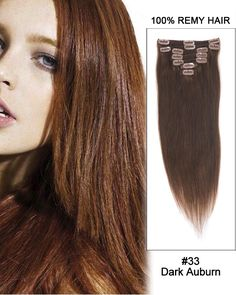 16 Inch 10pcs Straight Indian Clip In Remy Hair Extensions (#33 Dark Auburn) 135g