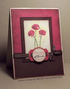 Stampin Up - Happy Harmony Flower Stamp, Flower Cards, Pretty Cards, Cute Cards, Paisley Background, Serene Silhouettes, Graduation Cards, Get Well Cards, Grasses