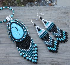Turquoise Bead Embroidered Necklace and Earring Set. $65.00, via Etsy.
