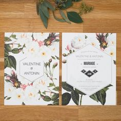 Faire part de mariage fleur, papeterie Jardin botanique