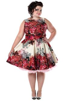 Red Rose Floral Border, Tea dress by Lady Vintage #floral #dress #circledress #rose #fifties #vintage #style #plussize #petticoat