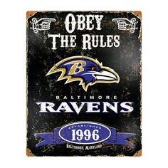 Baltimore Ravens NFL Vintage Metal Sign (11.5in x 14.5in)