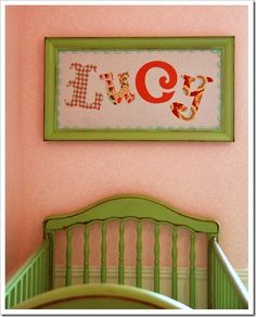 Adorable name using fabric with Silhouette machine.#Silhouette