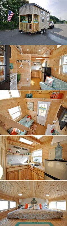 From Fredericksburg, Virginia-based Tiny House Building Company is this beach themed tiny house, The Harbor. The 16-foot house has a porch with overhang.