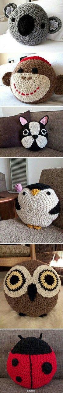 Crochet animal cushions