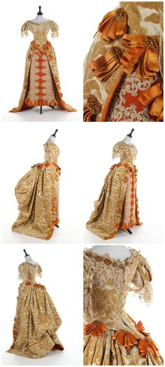 A rare Charles Frederick Worth historically-inspired voided velvet ball gown, 1885-8, pointed boned bodice, back-laced, edged in ecru guipure with amber-coloured beads and looped tangerine satin rosettes, cut-velvet with large scale Arum lily repeats, front skirt panel of orange cannelé silk adorned with lace, elaborate gold beaded braid and ribbons, velvet skirt with polonaise ribbon ties. Provenance: Doña Emilia Crooke y Larios, Marquesa de Castrillo (1859-1923). Kerry Taylor Auctions.
